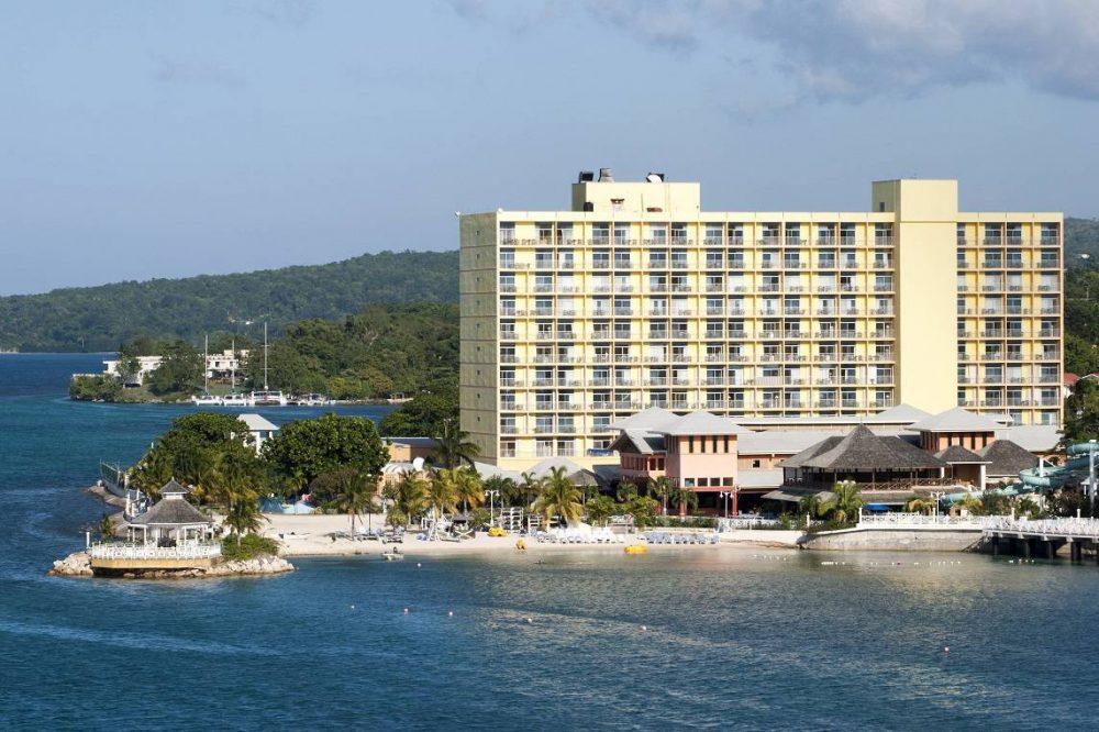 tourist beach in Ocho Rios resort town Jamaica